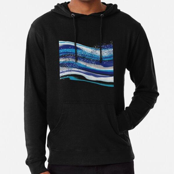 Abstract Fluid Art Blue Waves Lightweight Hoodie