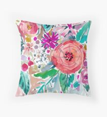 High by the Beach Floral Throw Pillow
