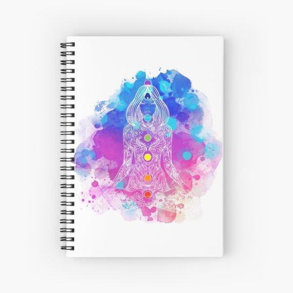 Watercolor Lotus Chakras Spiral Notebook