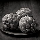 Still life with artichokes 2 monochrome by Dave Milnes