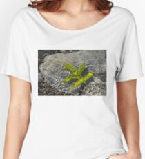 Green Sunshine - a Jade Colored Oak Leaf on the Rocks Women's Relaxed Fit T-Shirt