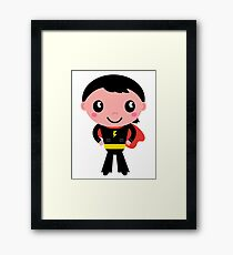 Cute young Super hero boy - Black + Red Framed Print