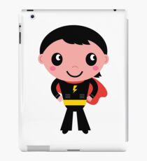 Cute young Super hero boy - Black + Red iPad Case/Skin