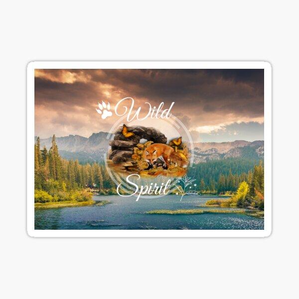 Wild Spirit Fox Hedgehog mountains Sticker