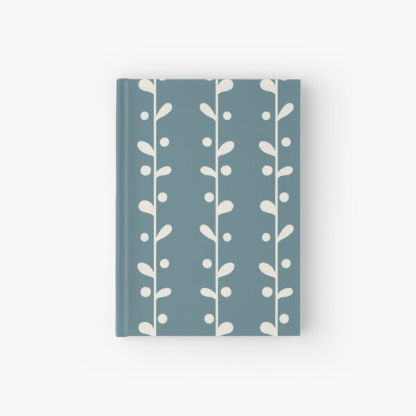 Cottagecore Blue and White Bold Leaf Print Hardcover Journal