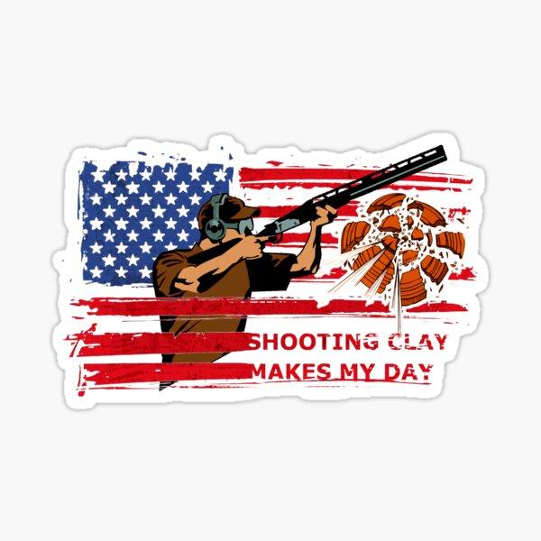skeet shooting clay pigeon trap shooting american flag Sticker