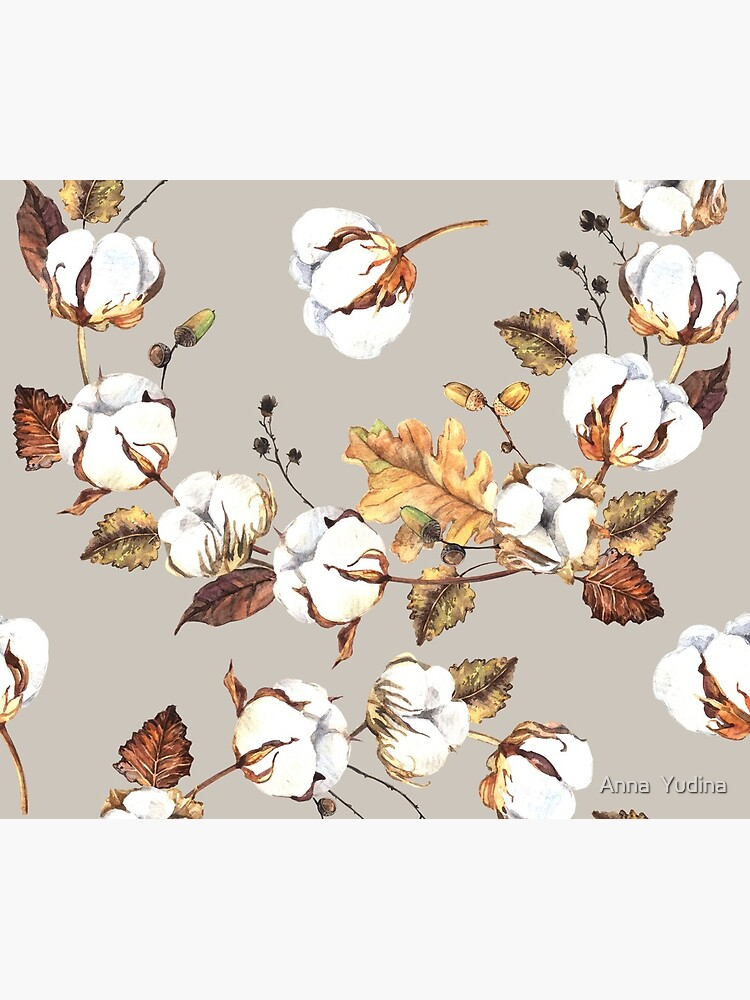 Gentle watercolor seamless with cotton flowers by Anutina