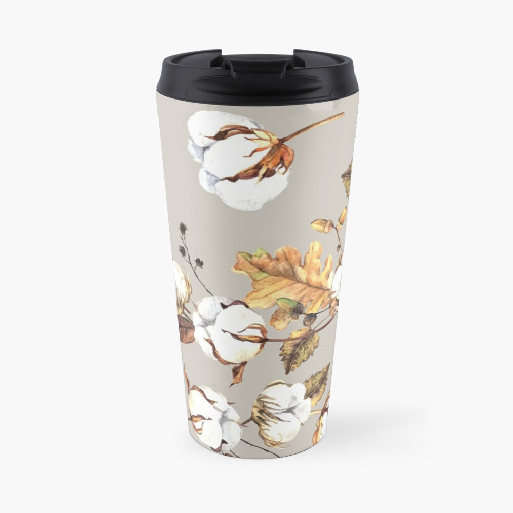 Gentle watercolor seamless with cotton flowers Travel Mug