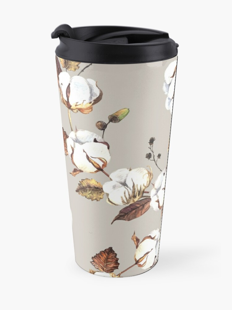 Alternate view of Gentle watercolor seamless with cotton flowers Travel Mug