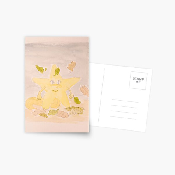Lara child's picture shooting star watercolor painting Postcard