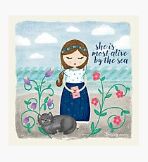 She is most alive by the sea Photographic Print