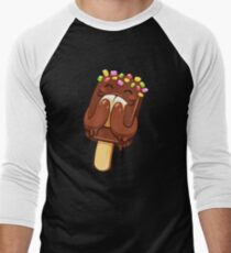 Happy Cartoon Chocolate Ice Cream Men's Baseball ¾ T-Shirt