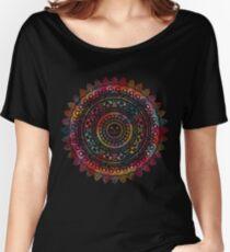 Camiseta ancha para mujer Rainbow Kitty Cat Mandala