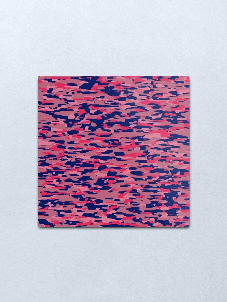 Alternate view of mistyrose, oldrose, rosybrown and dark blue military camouflage pattern Metal Print