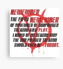 v for vendetta quote Canvas Print
