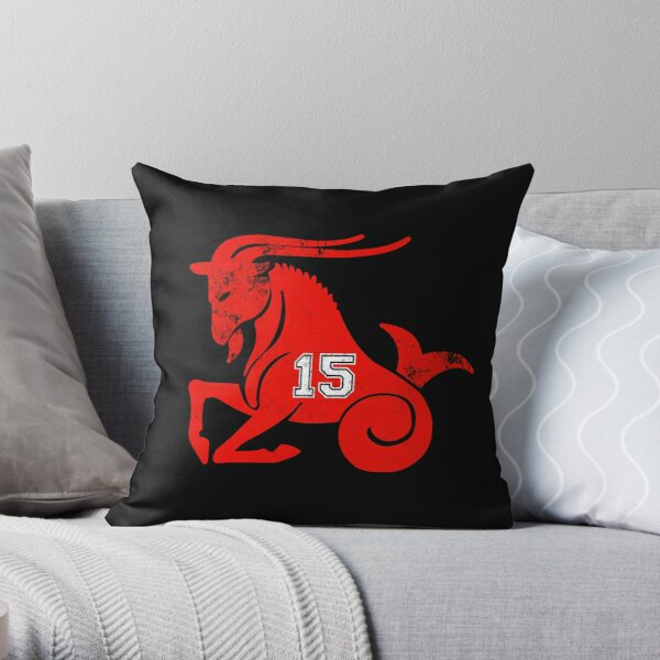 Goat 15 for kansas city football fans distressed Throw Pillow