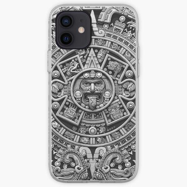 Aztec Calendar Sun Stone - Greyscale iPhone Soft Case