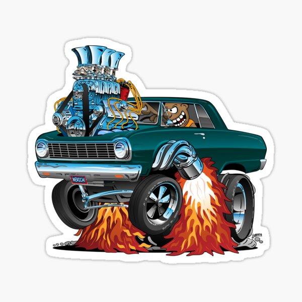 Sixties American Classic Muscle Car Cartoon Sticker