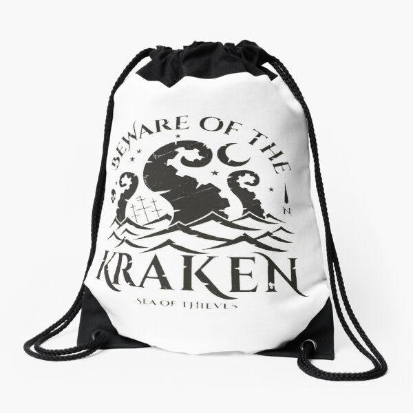 """Beware of the Kraken"" Sea of Thieves Design Drawstring Bag"