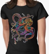 Electric Octopus Womens Fitted T-Shirt
