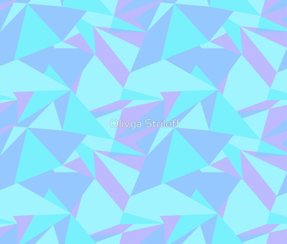 Mint Blue And Purple Shattered Geometric Shards Seamless Pattern By Olivya Striloff