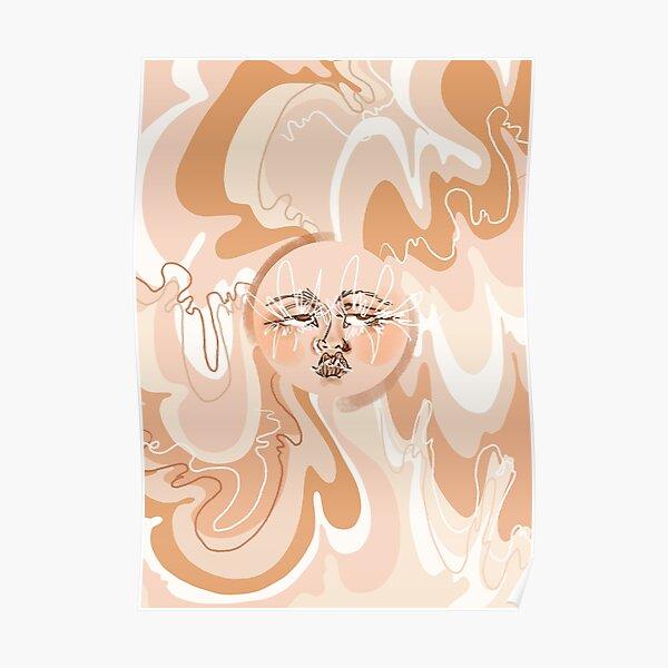 Trippy Neutral Beige, Tan, Cream, Brown 60's/70's Inspired Sun  Poster