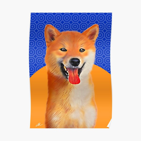 Cute Golden Akita Dog graphic design art on gold and blue background Poster