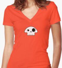 Mushroom Skull - small Women's Fitted V-Neck T-Shirt