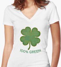Irish Shamrock - 100% Green Women's Fitted V-Neck T-Shirt