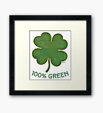 Irish Shamrock - 100% Green Framed Print