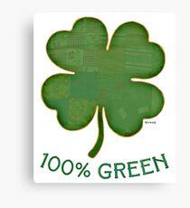 Irish Shamrock - 100% Green Canvas Print