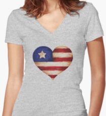 Patriotic Heart Women's Fitted V-Neck T-Shirt
