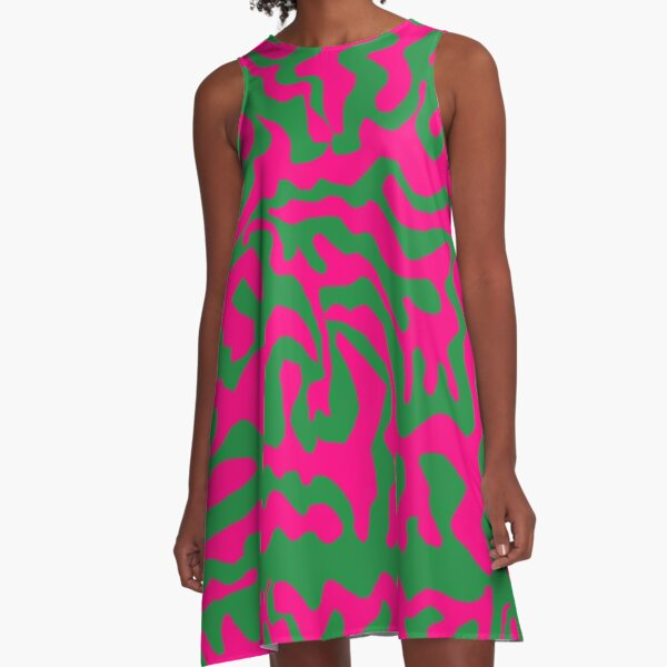pink and green abstract pattern A-Line Dress