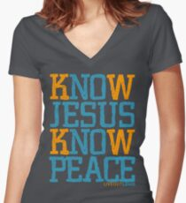 Know Jesus Know Peace No Jesus No Peace Women's Fitted V-Neck T-Shirt