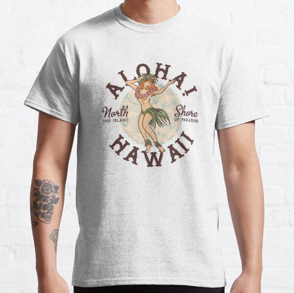 Hawaii girl, retro hula dancer, Hawaiian dancer, hibiscus vintage, hula girl Classic T-Shirt