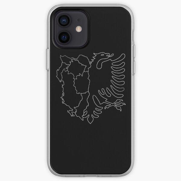 Drapeau / carte de l'aigle albanais (noir) Coque souple iPhone
