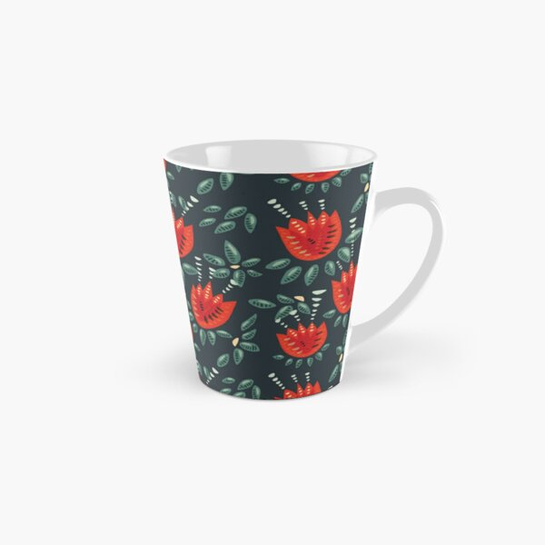 Beautiful Red Abstract Tulip Pattern Tall Mug
