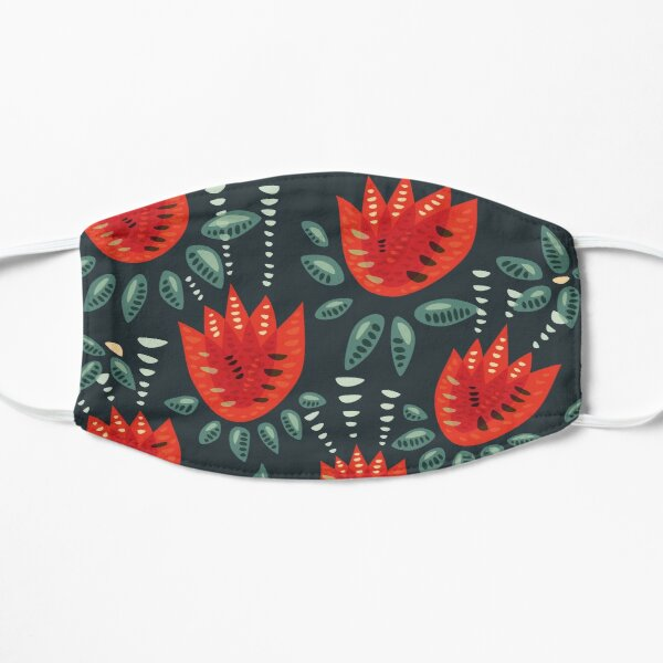 Beautiful Red Abstract Tulip Pattern Mask