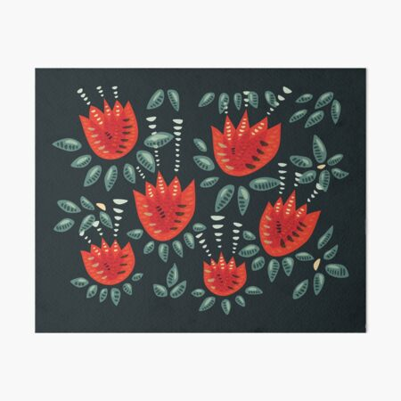 Beautiful Red Abstract Tulip Pattern Art Board Print