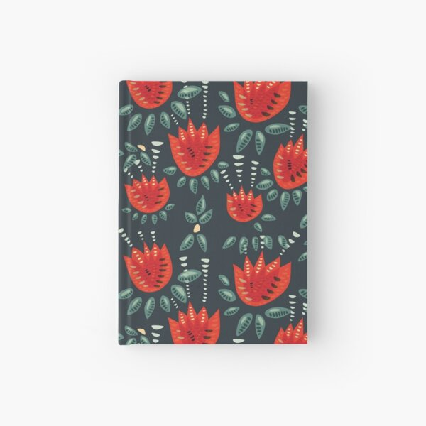 Beautiful Red Abstract Tulip Pattern Hardcover Journal