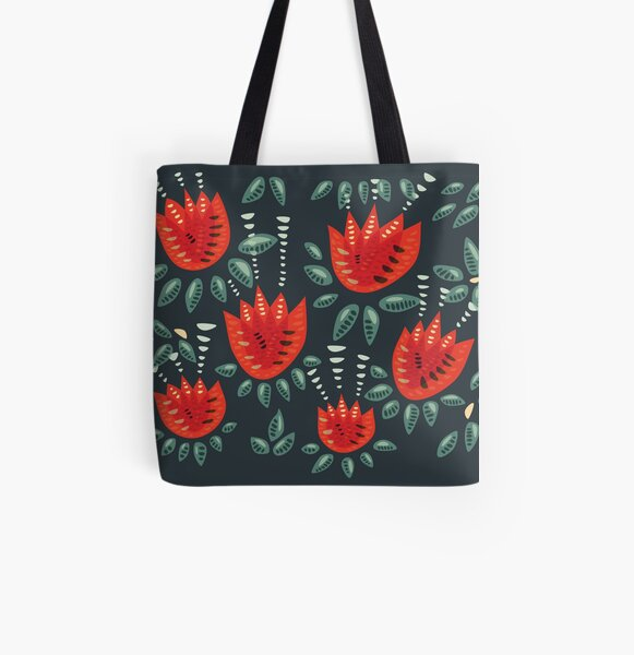 Beautiful Red Abstract Tulip Pattern All Over Print Tote Bag