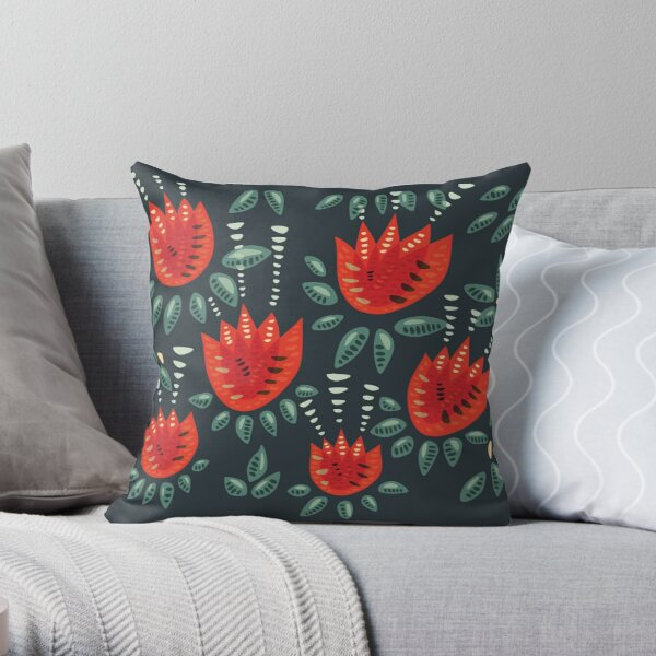 Beautiful Red Abstract Tulip Pattern Throw Pillow