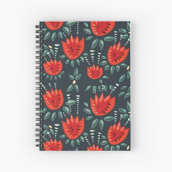 Beautiful Red Abstract Tulip Pattern Spiral Notebook