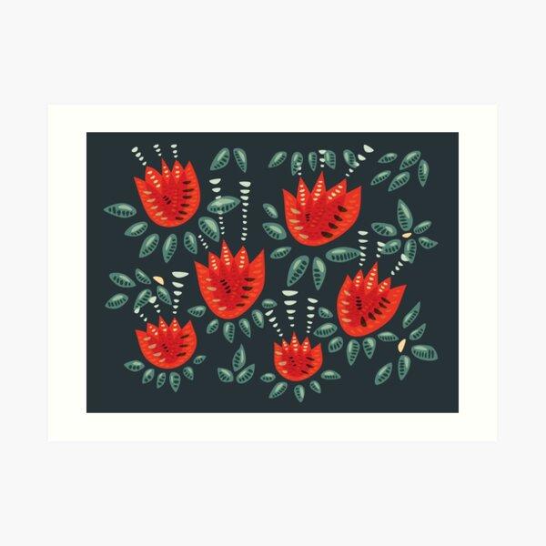 Beautiful Red Abstract Tulip Pattern Art Print