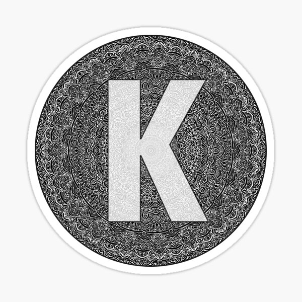 """K"" Monogram Letter Sticker! // Mandala Design Pattern Round Circle Detailed Unique Sticker"