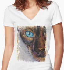 Siamese Cat Painting Women's Fitted V-Neck T-Shirt