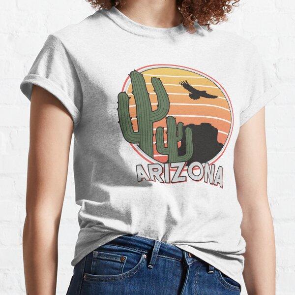 Retro Arizona cactus, state of AZ Tucson, Phoenix AZ, Grand Canyon, vintage sunset, saguaro desert, road trip souvenir Classic T-Shirt