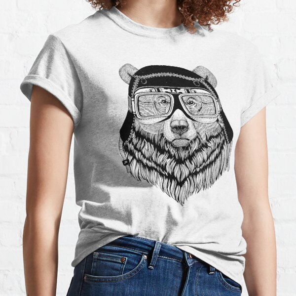 Troublemaker bear biker graphic, vintage grizzly bear graphic, motorbike, rider, cool teddy bear Classic T-Shirt