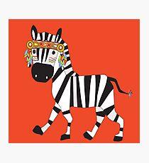 Cute Cartoon Animals Tribal Zebra Photographic Print