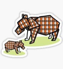 Mother Bear Baby Bear Origami Sticker